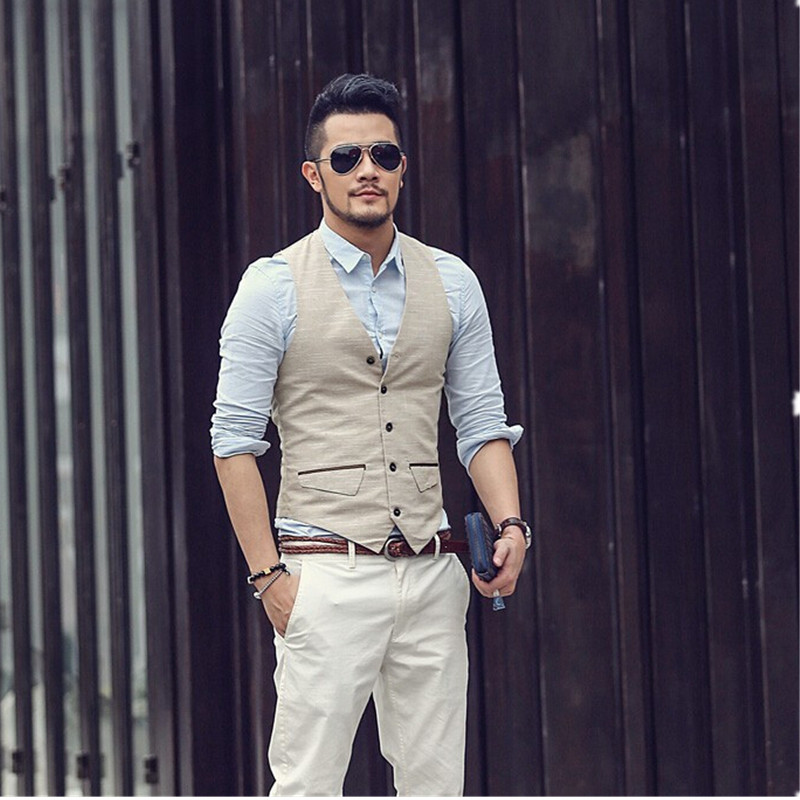 Vest Suit Jacket Waistcoats Men's Casual Sleeveless New British Brand Button Linen Spring