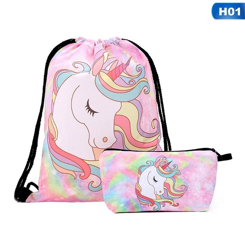 Fashion Drawstring Bag  3D Printing Unicorn Feminina Drawstring Backpack Women Daily Casual Girl's Knapsack  For Gift