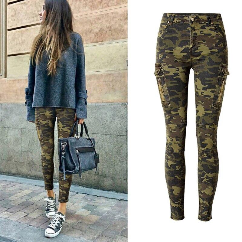 2018 Camouflage Jeans Frauen Stretch Seite Tasche Frauen Dünne Jeans Bleistift Denim Hosen Jeans Weibliche Frauen Jeans Hose Aromatischer Geschmack