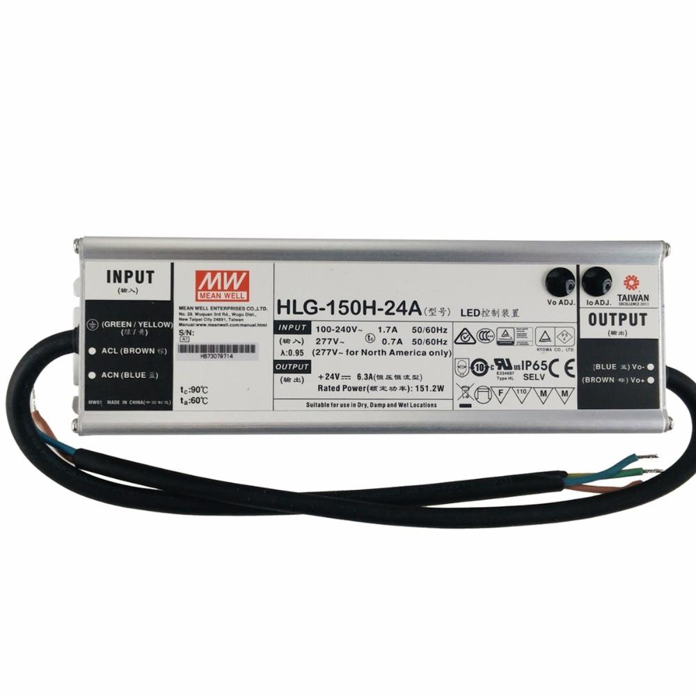 original mean well led driver 24v hlg 150h 24a adjustable led power