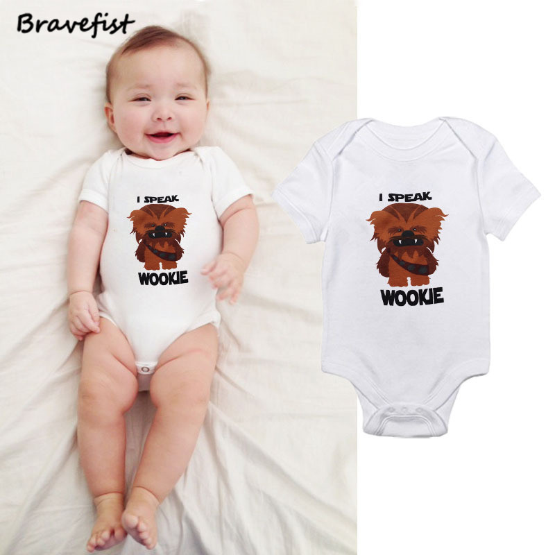 Newborn Kids Baby Infant Girl Cotton Bodysuit Baby Jumpsuit Summer Outfit Clothes Cartoon Lion Print I SPEAK WOOKIE Letters Tees