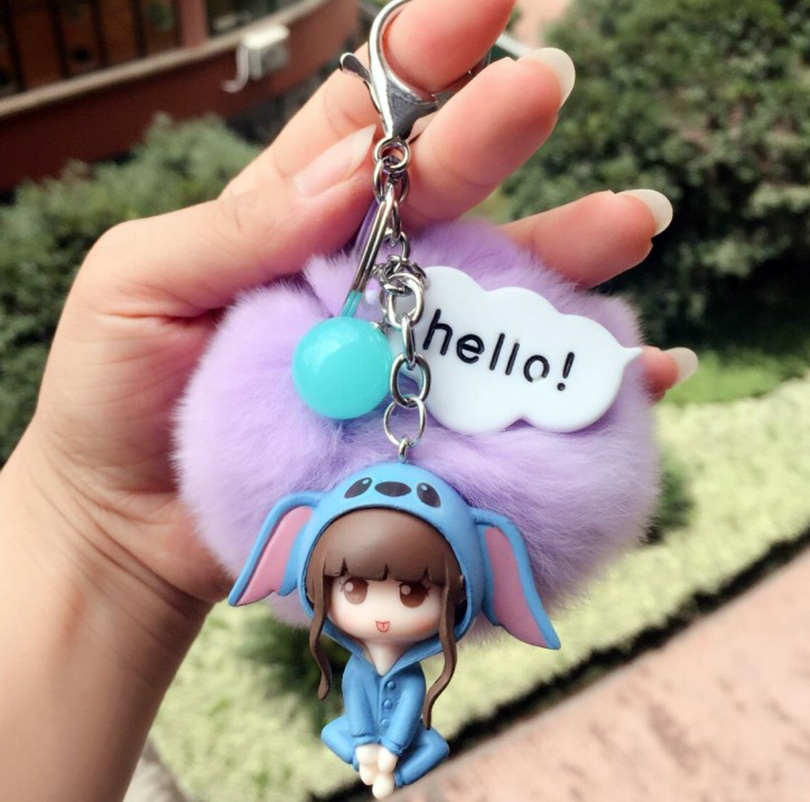 Car Accessories For Girls Cute Cartoon Keychain Dolls Keychain Rabbit Hair Ball Toys Car Key Bag Pendant Keyring Charms Jewelry good fortune lucky keychain wood car bag purse keychain keyring amulet pendant boxwood wooden inlay woodwork key accessories