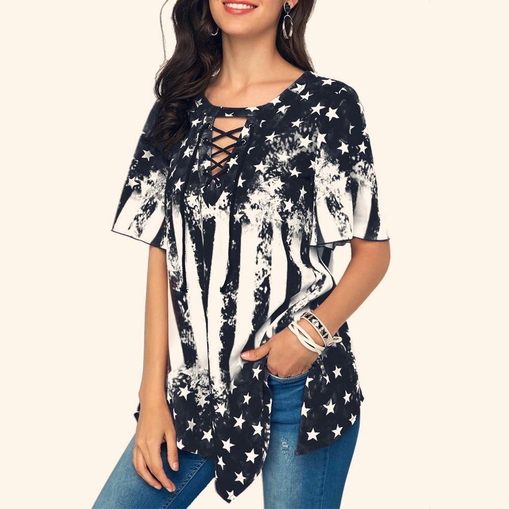 Independence Day Printed Women Blouse Plus size V Neck Asymmetrical hem Tops Loose Tunic summer Blouses Femme Shirt blusas