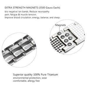 Image 5 - Escalus Mens Pure Titanium Magnetic Bracelet For Men 4in1 Magnets Negative Ions Germanium Health Bracelets jewelry