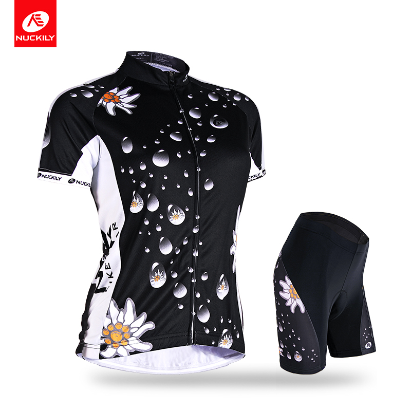 NUCKILY Summer Cycling Jersey Set Mujeres Water Drop Flower Print - Ciclismo