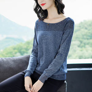 Image 4 - YISU 薄型セーター女性の O ネックセーター女性 2019 春秋のルースプルオーバーカジュアル明るいシルク固体セーター女性