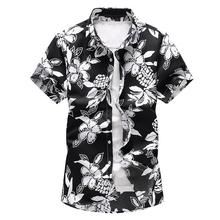 купить Large size M-7XL Floral Plant Mens Shirt Short sleeve Summer Dress Flower Hawaiian Shirt Slim fit Casual Blouse Men Blue дешево
