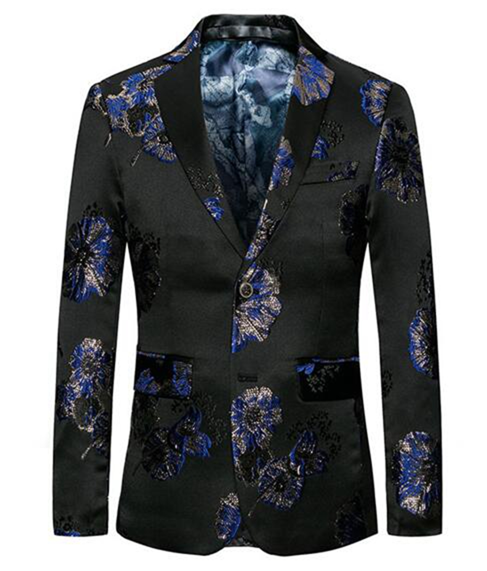 Europe and the United States the new boutique han edition men winter wedding host big yards black blue flower blazer 261 / M-6XL