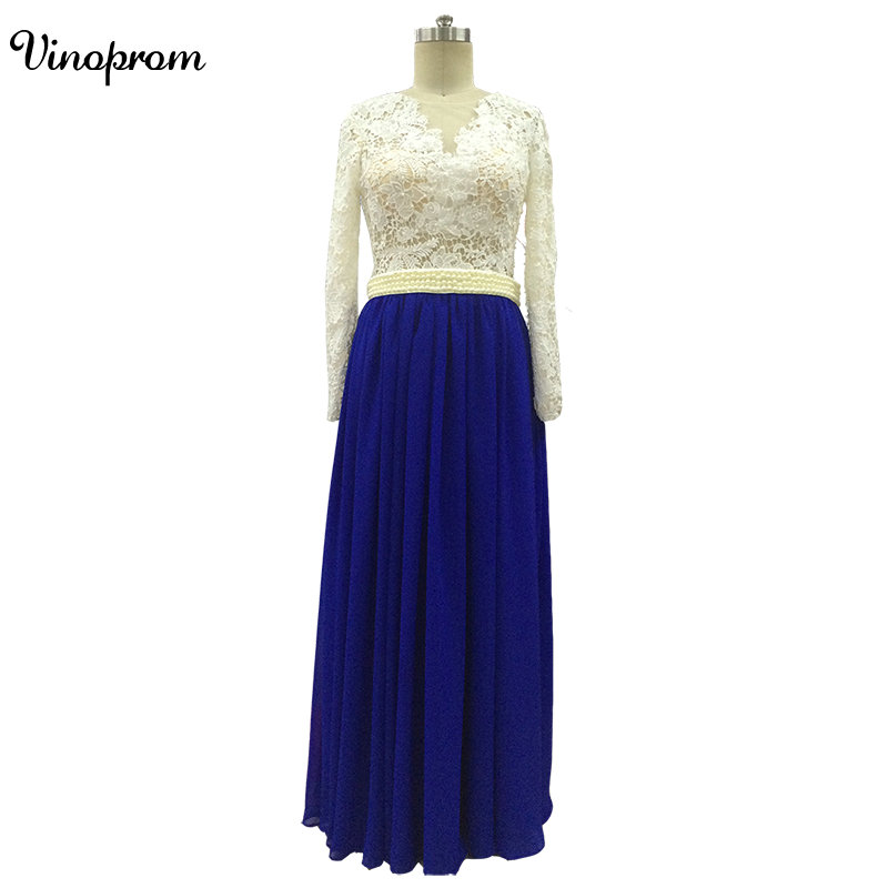 Robe de soiree Sexy Beaded   Prom     Dresses   2017 Scoop Neck Royal Blue Long Sleeves A-Line Sequined Chiffon Party   Dresses   Evening