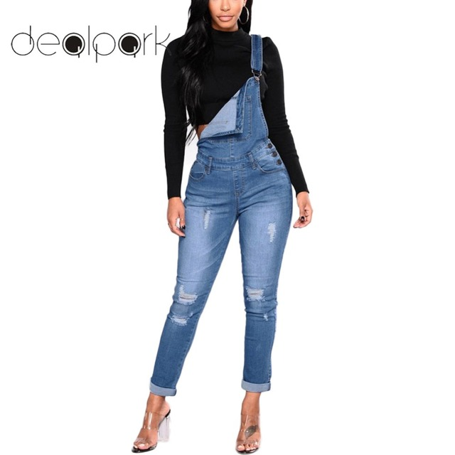 68cc746bb853 2019 Slim Women Denim Overalls Ripped Stretch Dungarees High Waist Long  Jeans Plus Size XXXL Pencil Pants Rompers Jumpsuit Blue