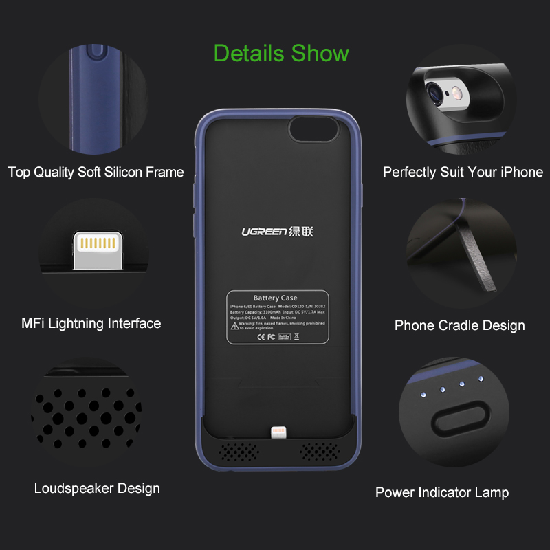 sports shoes b77c3 07c3c Ugreen Battery charger Case for iPhone 6 6s 3100mAh external Mobile Phone  battery for iPhone 6 s charger case power bank-in Battery Charger Cases  from ...