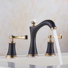 Смеситель для умывальника латунь золотой и черный 3 отверстия двойная ручка Ванная комната раковина кран Роскошные бассейна Ванна краны горячей холодной смеситель воды