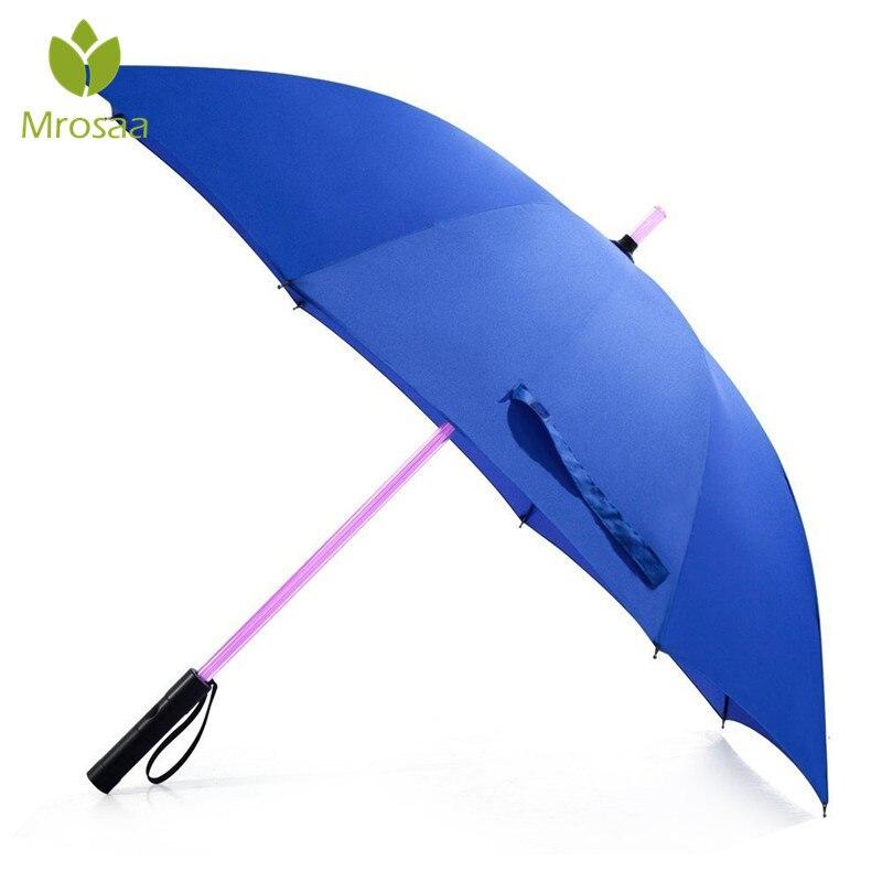 7 LED Color sable de luz paraguas espada láser Luz Golf paraguas cambiando en el eje/construido en flash paraguas