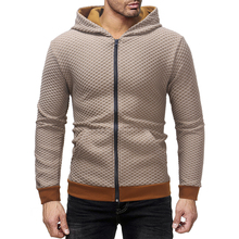Hoodie Mens Fashion Solid Color Plaid Cardigan Sweatshirt Large Size S-XXXL Slim Casual Small Pullover