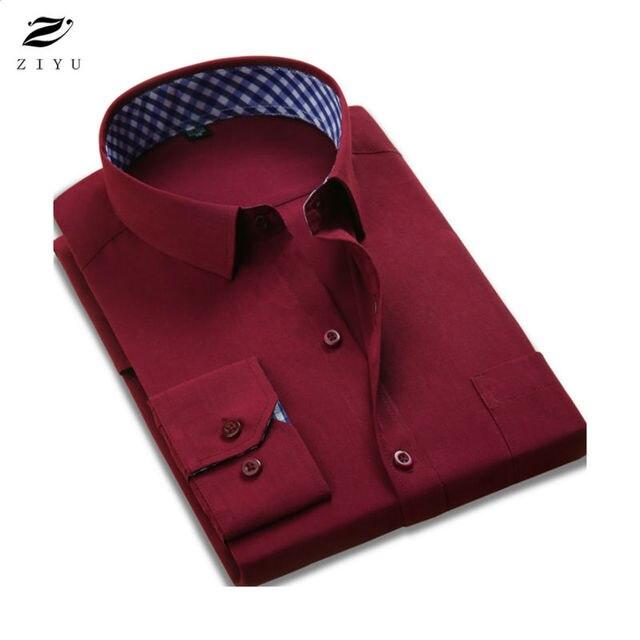 ZIYU Новый 2017 Чистый Цвет Мужской Рубашки Бизнес Официальный рубашка мужская Повседневная Рубашка С Длинными Рукавами мужская Camisas Hombre Плюс размер