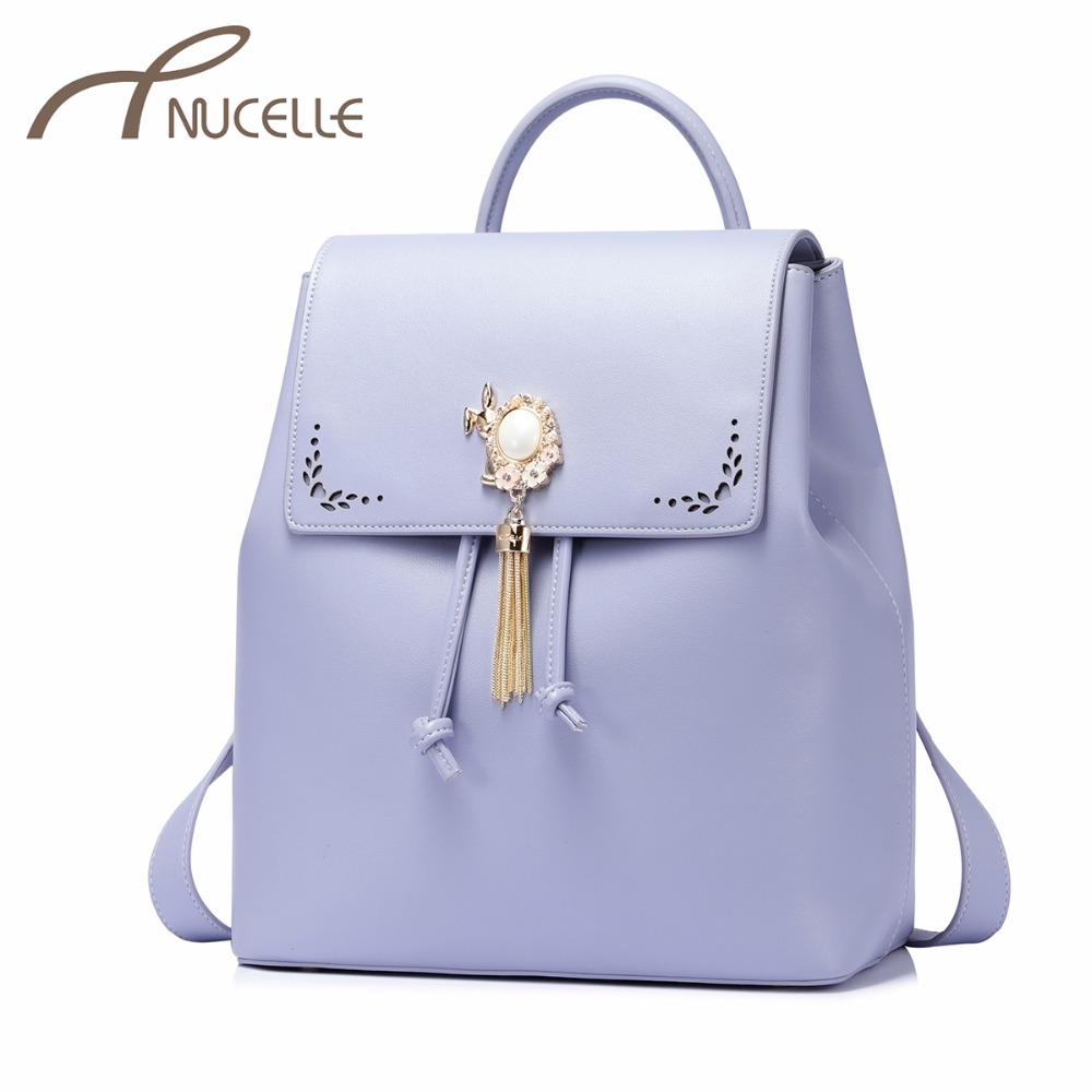 NUCELLE Women's PU Leather Backpack Ladies Fashion Brief Double Shoulder Bags Female Tassel Hollow Out School Rucksack NZ4147