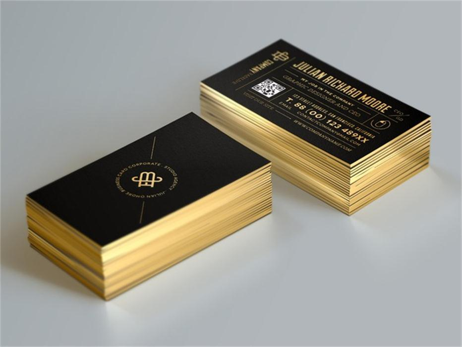 Custom Gold Foil Business Card Edge Gilding Business Cards Qr Code ...