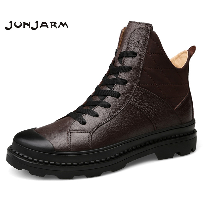 JUNJARM 100% Genuine Leather Men Martin Boots Autumn Winter Men Ankle Boots Quality Men Work Boots Men Footwear Size 38-45