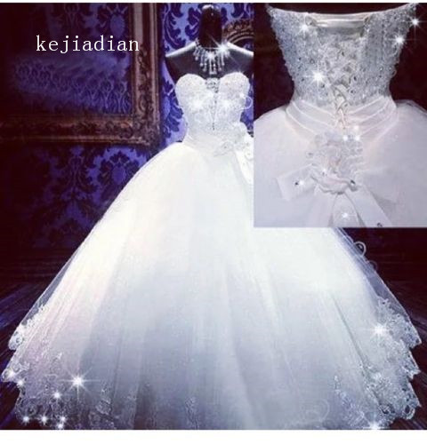 robe de mariage 2018 Bling Bling Wedding Dresses Luxury beading crystal  sweetheart ball gown Wedding Gowns d979e72c43e0