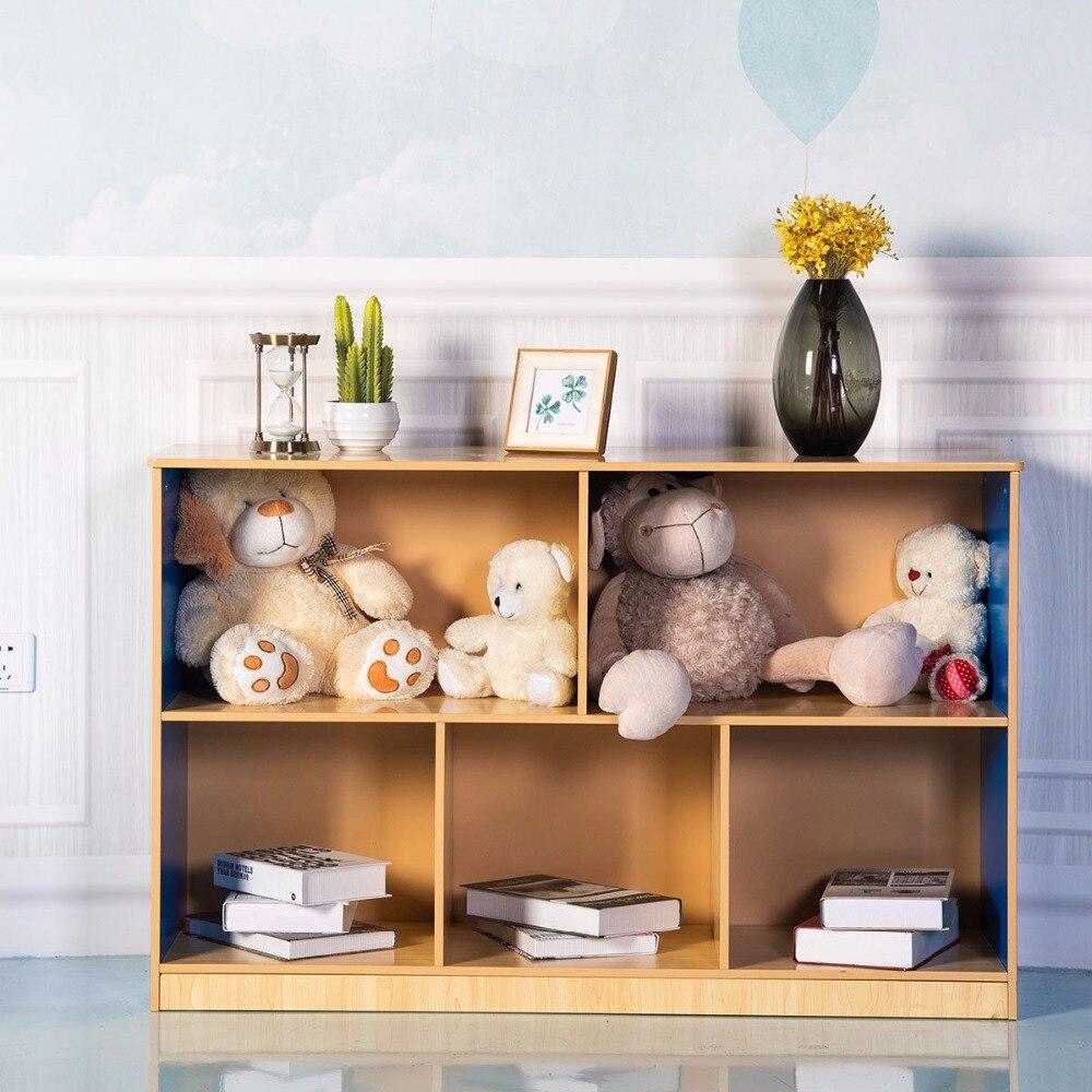 Goplus 5 compartiments armoire de rangement bibliothèque étagère Rack organisateur enfants jouet boîte meubles modernes HW59598