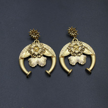 Europe and the United States fashion exaggerated earrings personality horns sun flower gold earrings 122