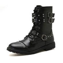 YeddaMavis Men Boots PU Leather Shoes 2019 New Rivet Zipper Mid-Calf Male Low Heels Size 39-44