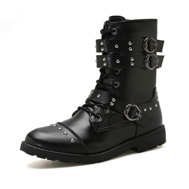 YeddaMavis Người Đàn Ông Khởi Động Người Đàn Ông PU Giày Da 2019 Người Đàn Ông Mới Đinh Tán Dây Kéo Giày Mid-Bê Giày Nam Thấp Gót người đàn ông Khởi Động Kích Thước 39-44