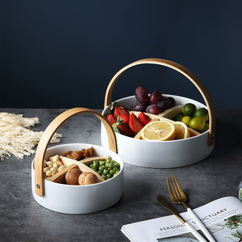 INS seramik meyve tabağı oturma odası lüks High-end ev tabağı tatlı kurutulmuş meyve atıştırma tabağı bölme şeker aperatif sepeti