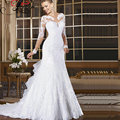 Jaeden colher vestidos de casamento com mangas compridas elegante lace applique ruffles até o chão de casamento da sereia vestidos de noiva 2017
