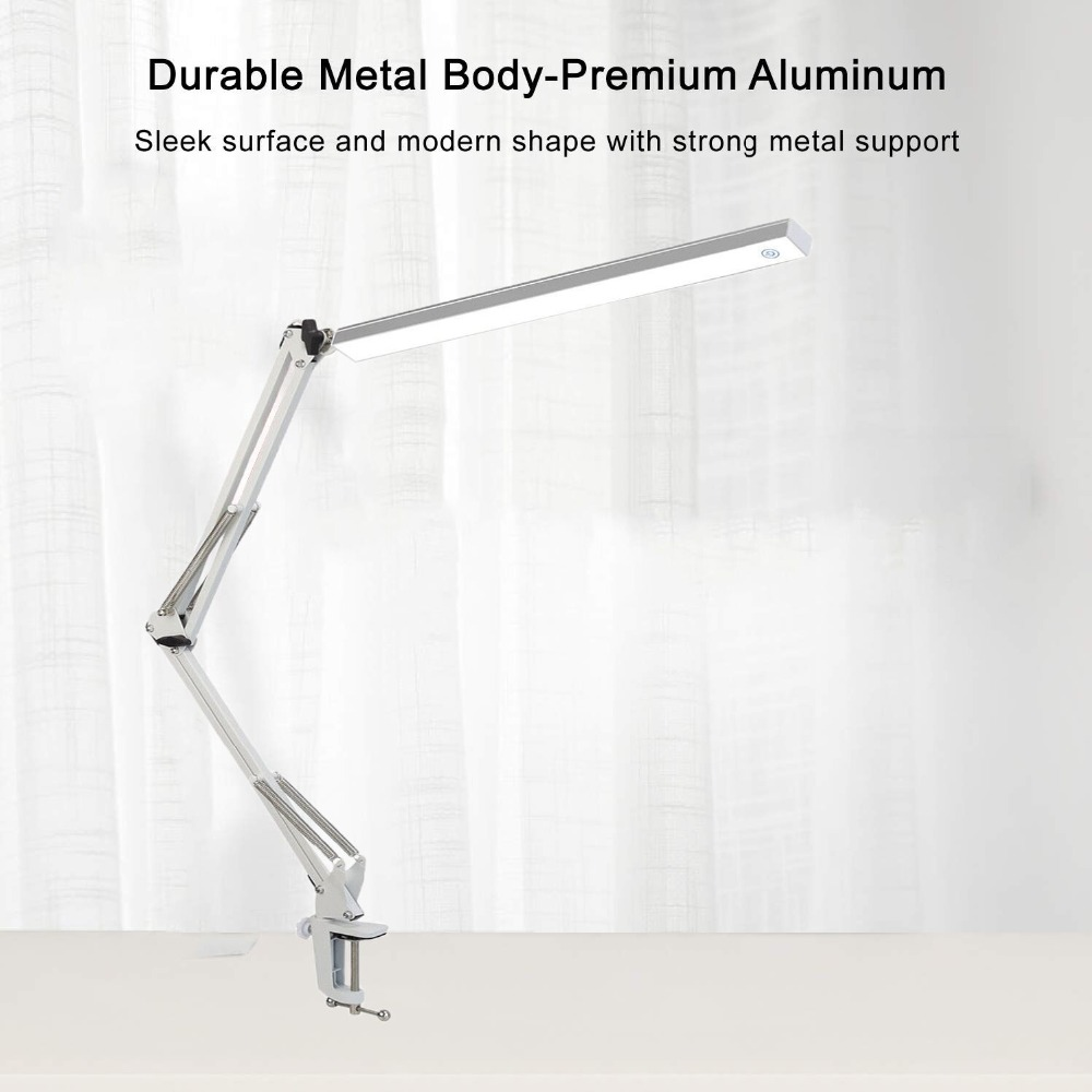 LED Dimmable Adjustable Swing Arm Architecture Desk Lamp Base with Metal Clamp, 3 level luminance dimmable ,White