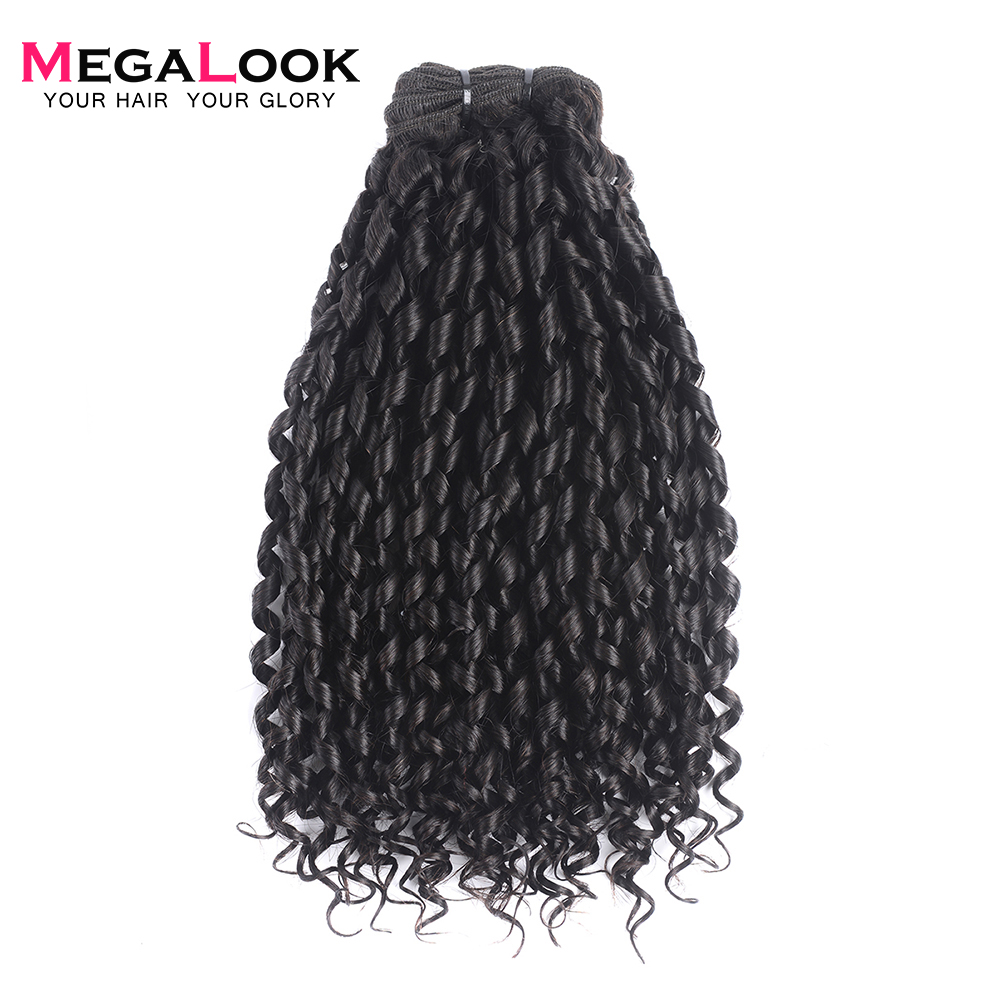 Megalook Super Double Drawn Pissy Curl Bundles with Lace Frontal 2