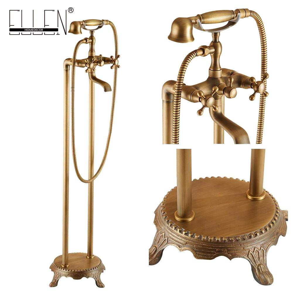 Antique Bronze Flooring Bath Faucet with Hand shower Floor Stand Faucets Bathtub Water Mixer