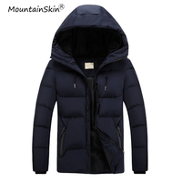Mountainskin New Men's Winter Jackets Fashion Male Hooded Solid Coats Slim Fit Mens Warm Thick Parkas Thermal Men Brand LA755