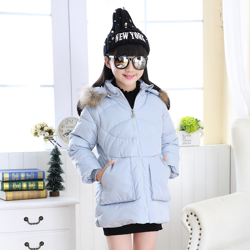 ФОТО 2016 children new style down jacket girls fashion hooded pure color coat 110-150 Free shipping