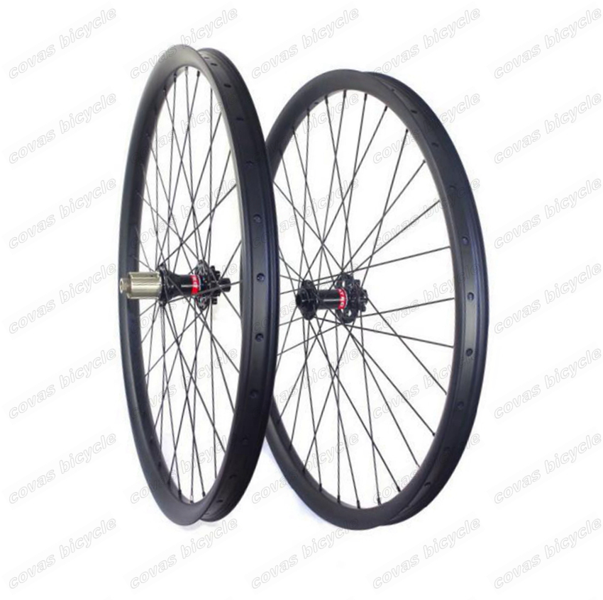 29ER AM/DH tubeless ready MTB carbon wheel Hookless 40mm width 30mm depth mountain bike carbon wheelset with Novatec 881/882 hub 29er 650b hookless carbon mtb wheelset width 30mm 35mm 40mm tubeless mountain bike thru axle wheelset front 12 100 rear 12 142