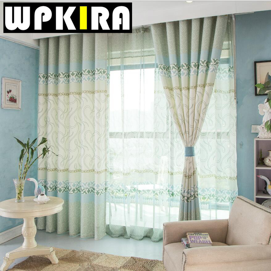 Linen Thicker Printing Modern Simple Curtains Bedroom Thick Shade Curtains  Solid Printed Curtain Green Rideau Living