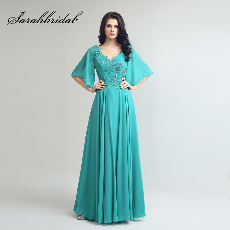 2019 Half Sleeve Jade Long Mother Of The Bride Dresses With Beading Chiffon Pleated Top V-Neck Fashion Women Party Gowns LX249