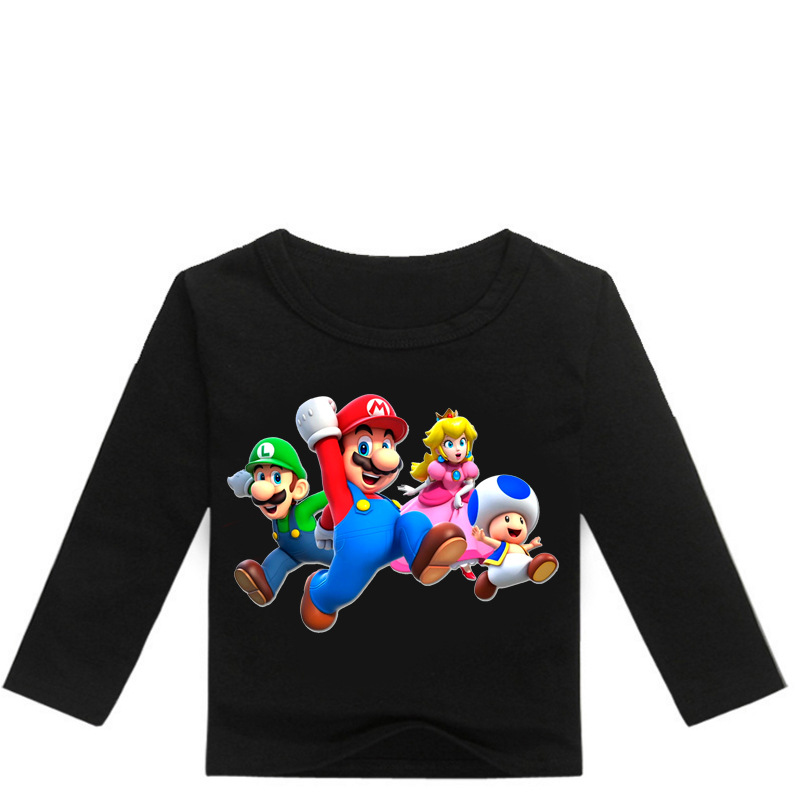 Girls Shirt Long-Sleeve Mario-Print Boys Tops Funny Cartoon Casual Z