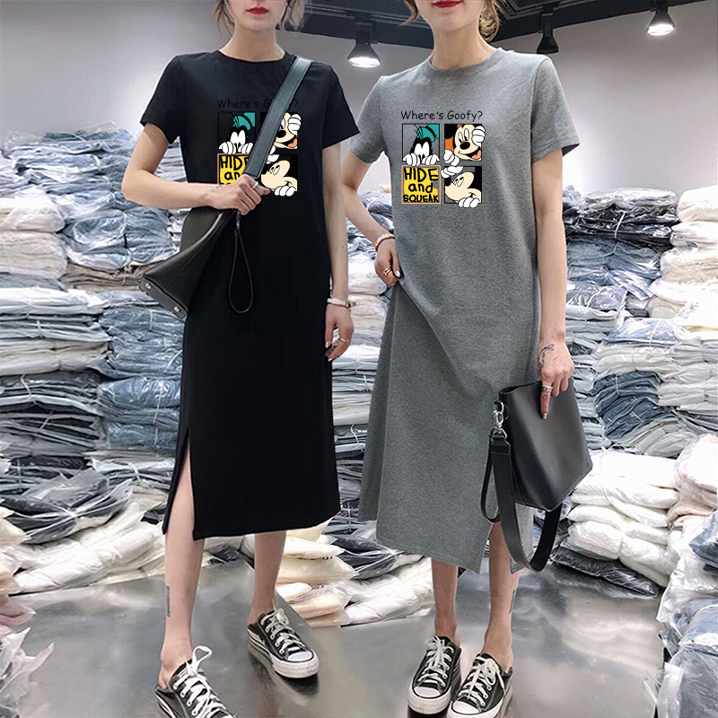 Summer Cartoon print women dress short sleeve O-Neck Medium long Mickey Mouse dresses Casual clothes 19 vestidos 10
