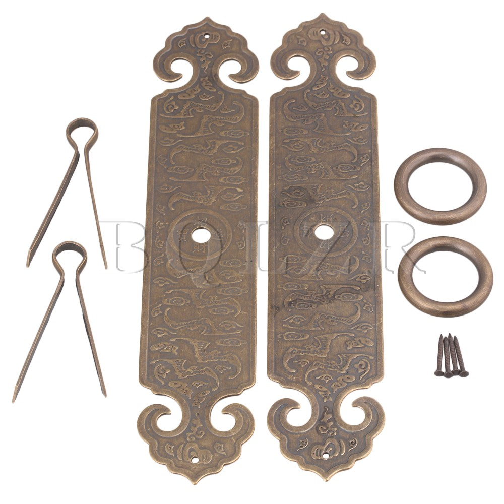 2PCS BQLZR 18 x 3.5cm Bronze Chinese Furniture Hardware Brass Cabinet Strip Pull Handle with U-shaped Needle bqlzr 2 x bronze thicken dragon pattern pull knob hardware w u shaped pin