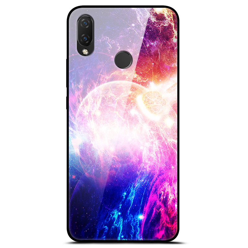 For Huawei P Smart Plus Case Tempered Glass Planet Space Cover ...