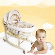 Portable Baby Basket Corn Woven Baby Crib Natural Colored Cotton Sleeping Cradle for Newborns for Car Baby Cot Rocking Chair