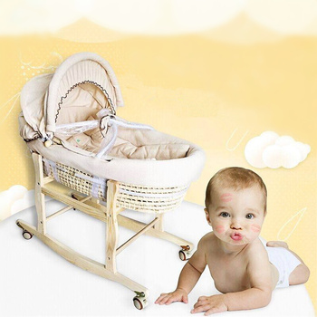 Portable Baby Basket Corn Woven Baby Crib Natural Colored Cotton Sleeping Cradle for Newborns for Car Baby Cot Rocking Chair newborn basket portable baby basket wicker woven sleeping basket car baby basket baby cradle bed