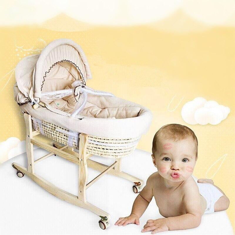 Portable bébé panier maïs tissé bébé berceau naturel couleur coton berceau de couchage pour les nouveau-nés pour voiture bébé lit à bascule chaise