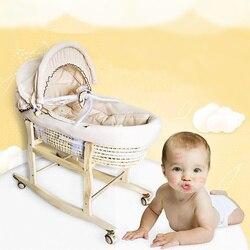 Tragbare Baby Korb Mais Gesponnener Baby Krippe Natürliche Farbige Baumwolle Schlafen Cradle für Neugeborene für Auto Babybett Schaukel Stuhl