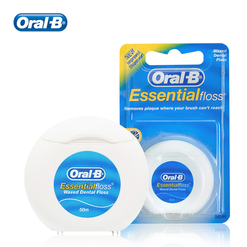 Oral B Essential Dental Floss Smooth Comfort Waxed Flosser Deep Clean Threader For Oral Hygiene Mint Flavor 50m 2/4pcs