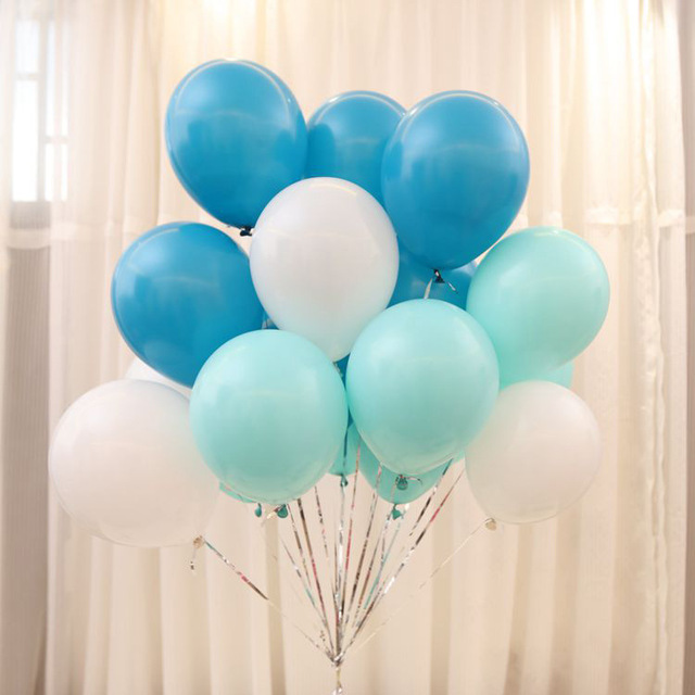10pc Lot Tiffany Blue Balloons 10 Inch Birthday Party Ballons Decorations White
