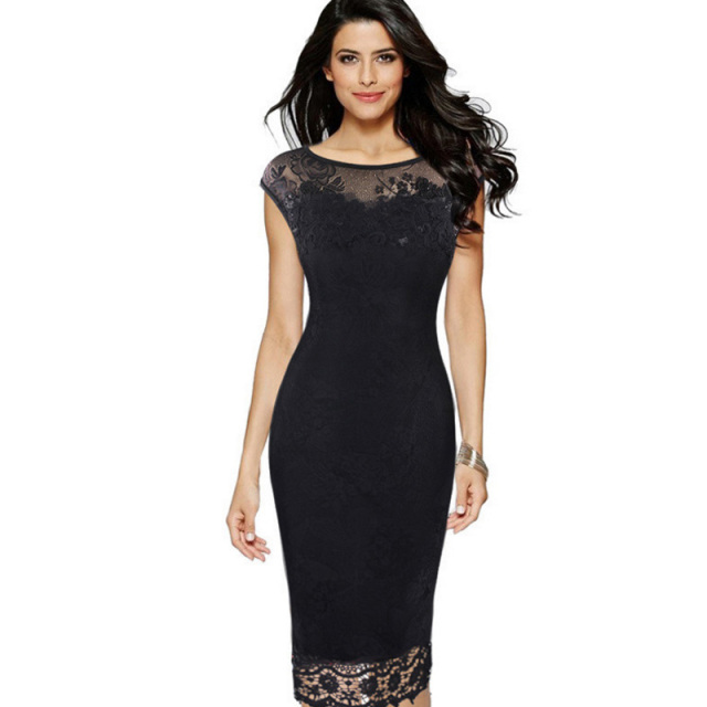 2018 Women Summer dresses Sexy embroidered Elegant Lace Party Bodycon  Floral Lace Tunic Evening Plus Size 3xl 4xl 5xl lady dress 2b88dfcce3cb