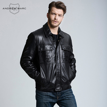 MARC NEW YORK ANDREW MARC Man s Sheepskin Genuine Leather Jacket Motorcycle Fashion Business Slim S