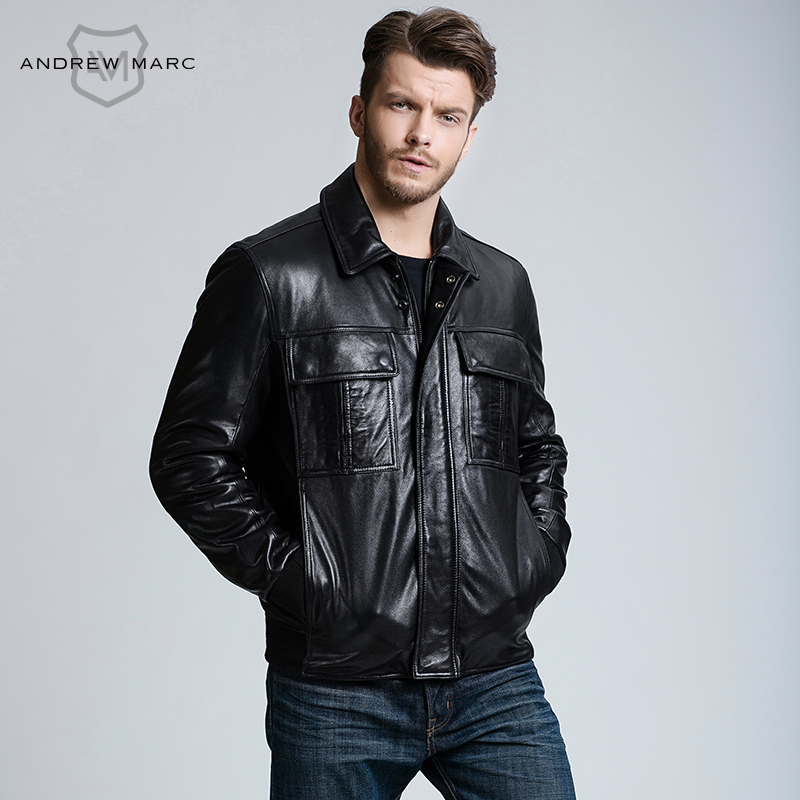 MARC NEW YORK ANDREW MARC Man s Sheepskin Genuine Leather font b Jacket b font Motorcycle